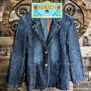 Vtg Retro 90s Y2K Barn Jacket Denim Jean Vlazer